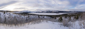 Panoramic view of Mt Granger, Bonneville Peak, and Fish Lake