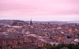 Pink light after a rain and Edinburgh