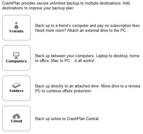 CrashPlan destination options