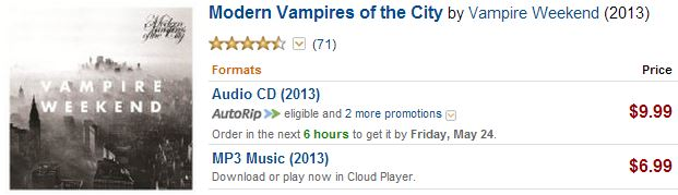 Vampire Weekend prices on Amazon
