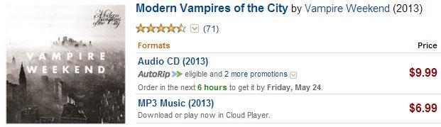 Vampire Weekend prices on Amazon