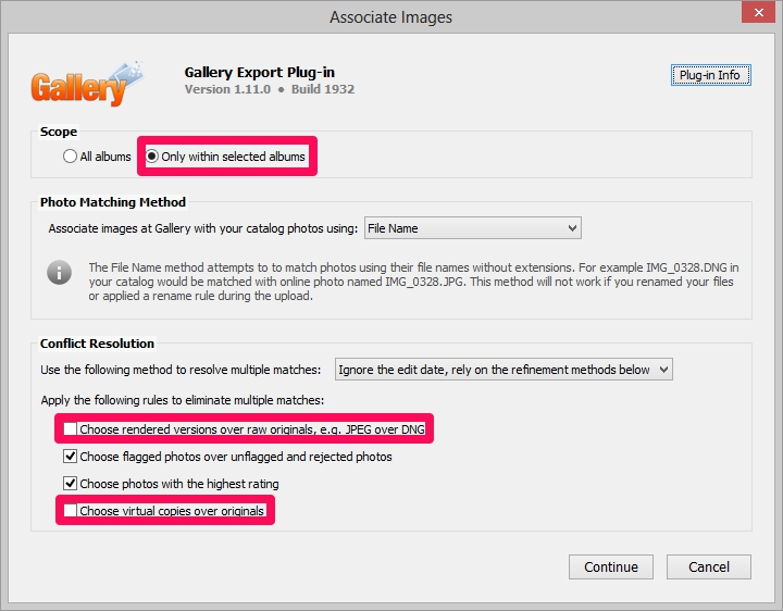 lightroom gallery3 plugin associate images settings