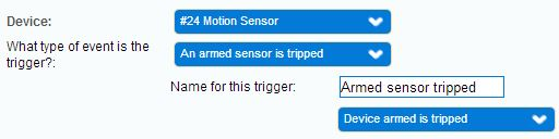 Motion sensor tripped while device is armed